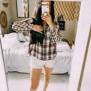 Style & co plaid oversized boxy plaid blouse